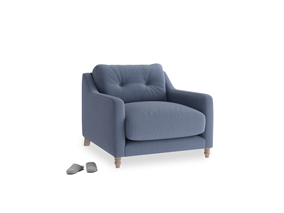 Slim Jim Armchair in Breton blue clever cotton
