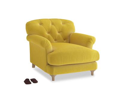 Truffle Armchair in Bumblebee clever velvet