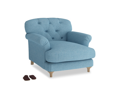 Truffle Armchair in Moroccan blue clever woolly fabric