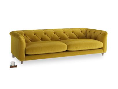 Large Boho Sofa in Burnt yellow vintage velvet
