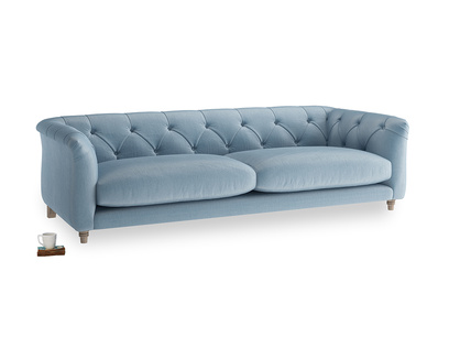 Large Boho Sofa in Chalky blue vintage velvet