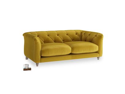 Small Boho Sofa in Burnt yellow vintage velvet