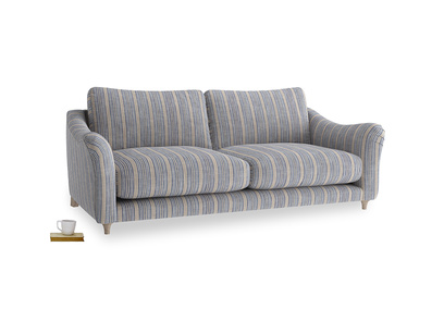 Large Bumpster Sofa in Brittany Blue french stripe
