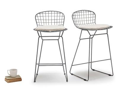 Tall Burger In Linen kitchen stool