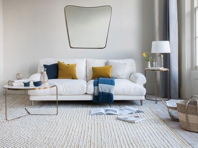 Bobble floor rug in Burnt Yellow