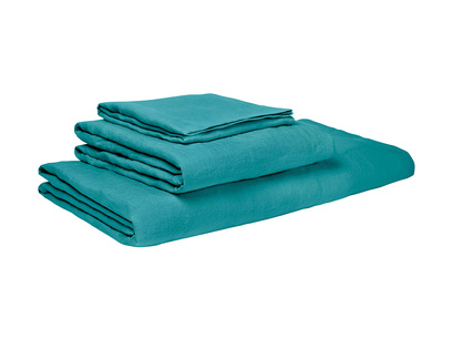 Double Lazy Linen fitted sheets in Kingfisher Teal