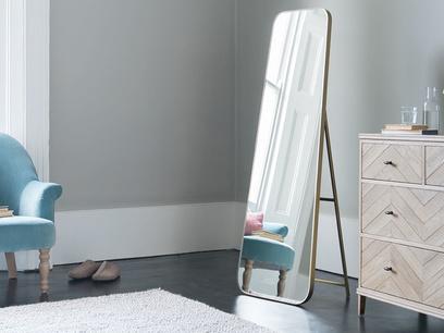 Stella free standing brass floor mirror