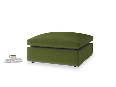Cuddlemuffin Footstool in Good green Clever Deep Velvet