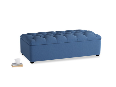 Double Bed In A Button in English blue Brushed Cotton