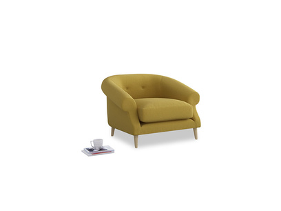 Schnaps Armchair in Maize yellow Brushed Cotton