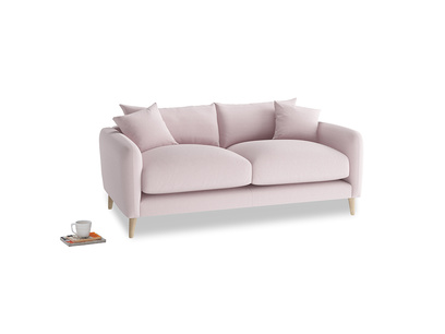 Small Squishmeister Sofa in Dusky blossom washed cotton linen
