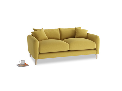 Small Squishmeister Sofa in Maize yellow Brushed Cotton