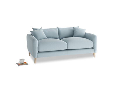 Small Squishmeister Sofa in Soothing blue washed cotton linen