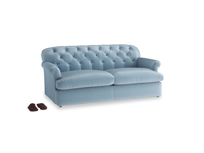 Large Truffle Sofa Bed in Chalky blue vintage velvet