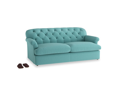 Large Truffle Sofa Bed in Peacock brushed cotton