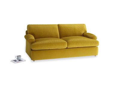 Medium Slowcoach Sofa Bed in Burnt yellow vintage velvet