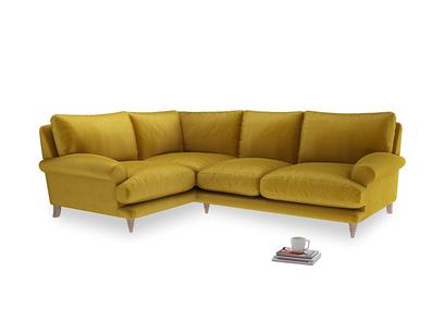Large Left Hand Slowcoach Corner Sofa in Burnt yellow vintage velvet