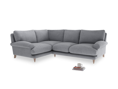 Large Left Hand Slowcoach Corner Sofa in Dove grey wool