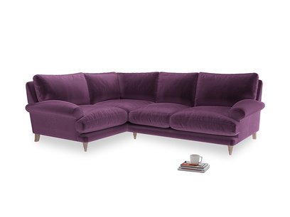 Large Left Hand Slowcoach Corner Sofa in Grape clever velvet