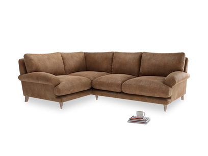Large Left Hand Slowcoach Corner Sofa in Walnut beaten leather