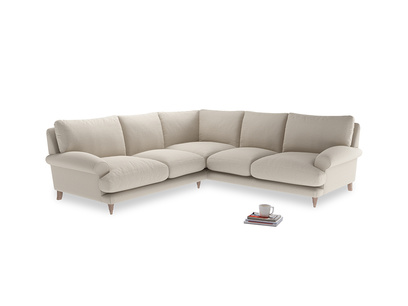 Even Sided Slowcoach Corner Sofa in Buff brushed cotton