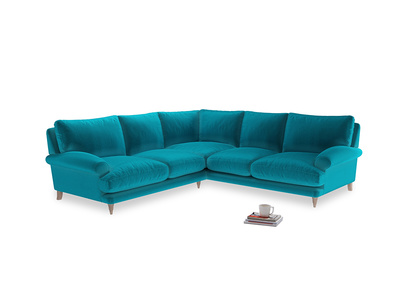 Even Sided Slowcoach Corner Sofa in Pacific Clever Velvet