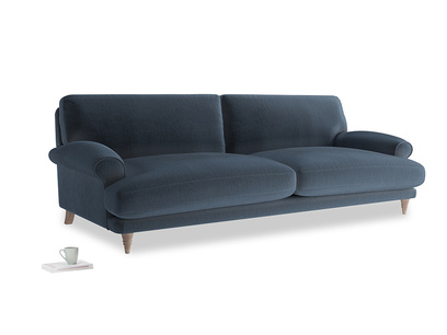 Extra large Slowcoach Sofa in Liquorice Blue clever velvet
