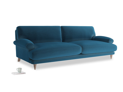 Extra large Slowcoach Sofa in Twilight blue Clever Deep Velvet