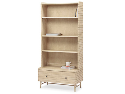 Big Bubba modular shelves in blonde oak wood