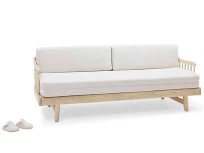 Kipster solid oak upholstered modern sofa bed