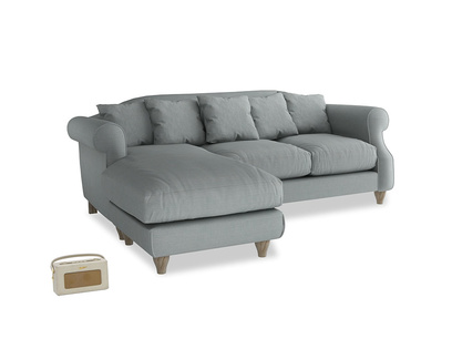 Large left hand Sloucher Chaise Sofa in Armadillo Clever Softie
