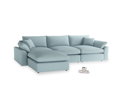 Large left hand Cuddlemuffin Modular Chaise Sofa in Powder Blue Clever Softie