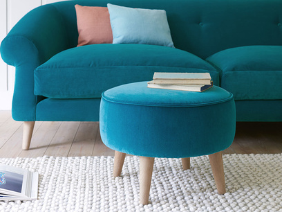 Footdoogle small round upholstered footstool