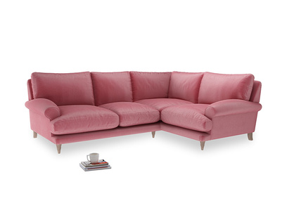 Large Right Hand Slowcoach Corner Sofa in Blushed pink vintage velvet