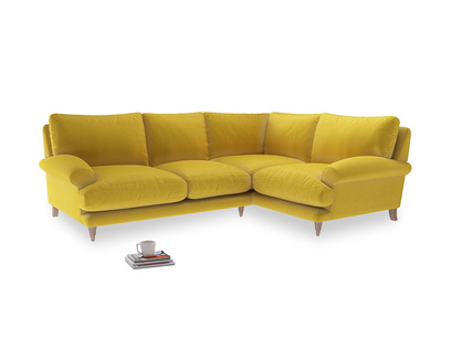 Large Right Hand Slowcoach Corner Sofa in Bumblebee clever velvet
