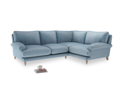 Large Right Hand Slowcoach Corner Sofa in Chalky blue vintage velvet