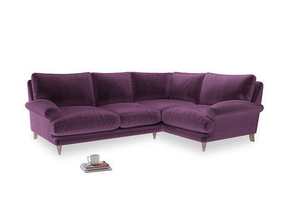 Large Right Hand Slowcoach Corner Sofa in Grape clever velvet