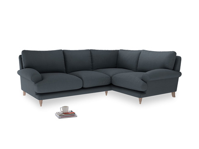 Large Right Hand Slowcoach Corner Sofa in Lava grey clever linen
