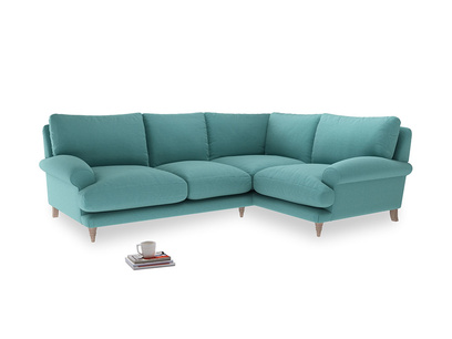 Large Right Hand Slowcoach Corner Sofa in Peacock brushed cotton