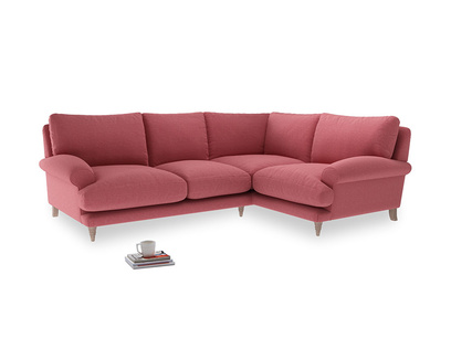 Large Right Hand Slowcoach Corner Sofa in Raspberry brushed cotton