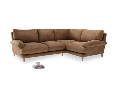 Large Right Hand Slowcoach Corner Sofa in Walnut beaten leather