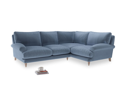 Large Right Hand Slowcoach Corner Sofa in Winter Sky clever velvet