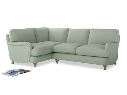 Large Left Hand Jonesy Corner Sofa in Soft Green Clever Softie