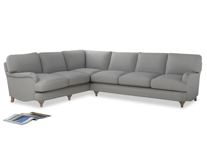 Xl Left Hand Jonesy Corner Sofa in Pewter Clever Softie