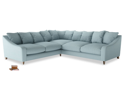 Even Sided Oscar Corner Sofa  in Powder Blue Clever Softie
