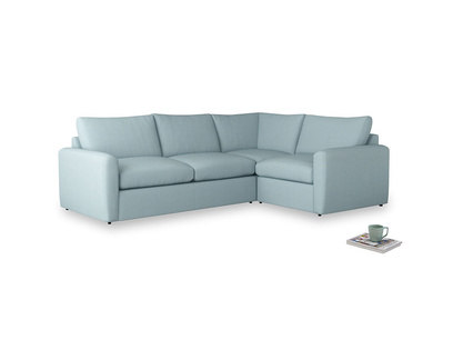 Large right hand Chatnap modular corner storage sofa in Powder Blue Clever Softie with both arms