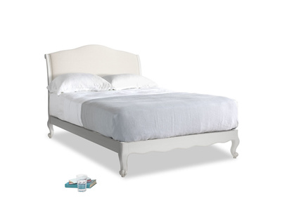 Double Coco Bed in Scuffed Grey in Natural cotton linen mix