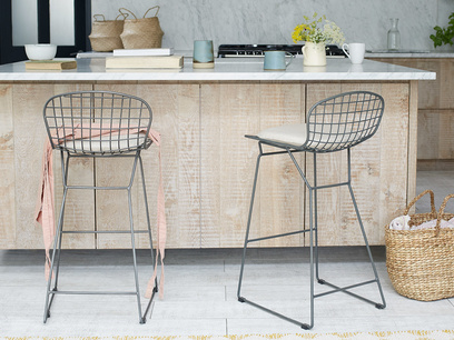 Tall Burger bar stools with Linen seat pads