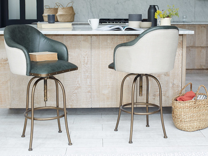 Milk leather kitchen bar stools