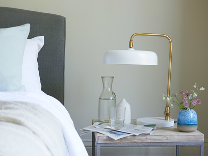 Biblio bedside table lamp in white